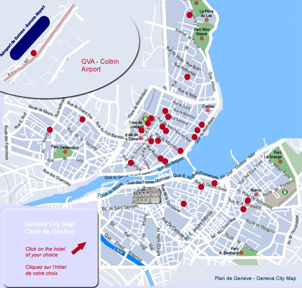 Geneva City Map : select the hotel of your choice